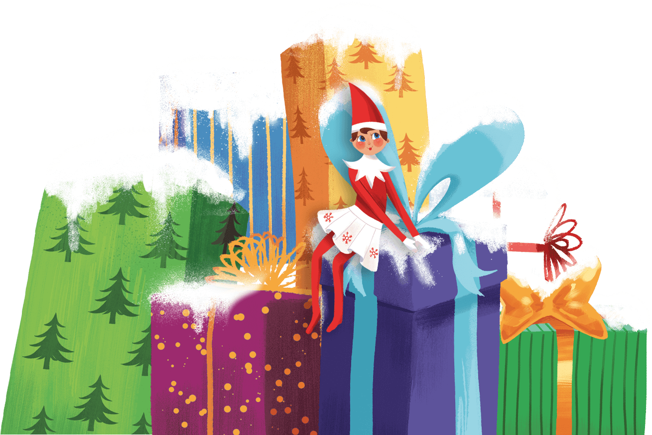 Elf on stack of presents